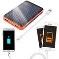 New 15000 mAh Portátil À Prova D' Água Solar Power Bank Dual USB Carregador Solar para telefone celular Por Atacado