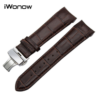 Curved End Genuine Leather Watchband For Tissot T035 Watch Band Butterfly Buckle Strap Wrist Bracelet Black