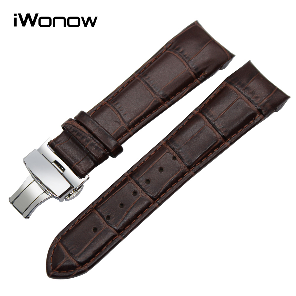 Curved End Genuine Calf Leather Watchband for T035 Couturier Watch Band Butterfly Buckle Strap Wrist Bracelet