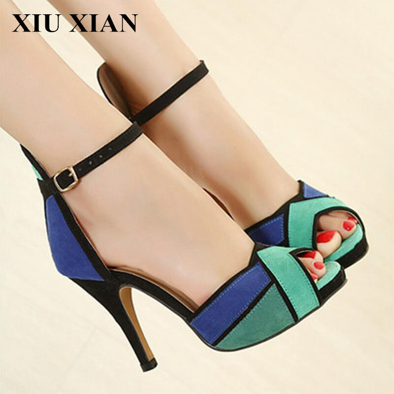 Summer High Heel Sandals Women Peep Toe Ankle Strap Sexy Pumps Casual Thin Heel Lady Pumps Platform Patchwork Party Wedding Shoe xiaying smile summer new woman sandals platform women pumps buckle strap high square heel fashion casual flock lady women shoes
