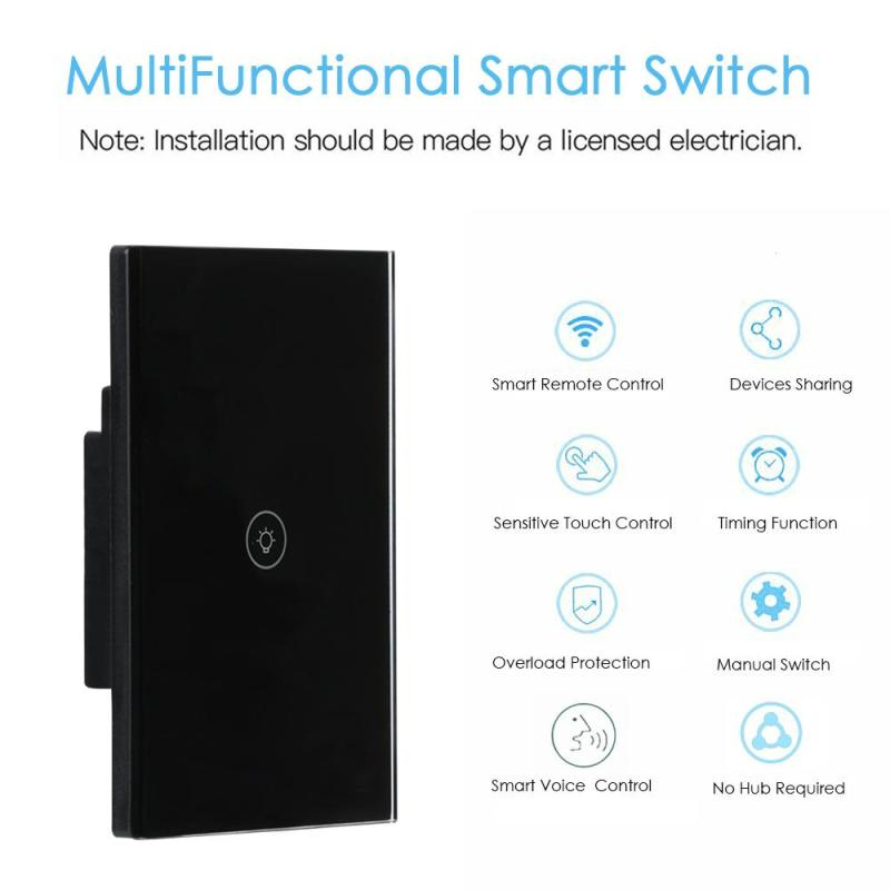 Image 2 - US WiFi Smart Switch Wireless Light Wall Switch 1 Gang Crystal Touch Panel APP Work with Amazon Alexa Google Home IFTTT Timing-in Remote Controls from Consumer Electronics