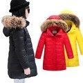 Зима Детская Одежда Мальчики Девочки Куртка Вниз Пальто Мода Снег Теплый Мех С Капюшоном Подросток Толщиной Зима Теплая детская Куртка девушки