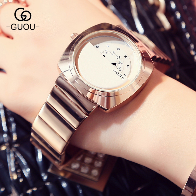 100% New Arrival GUOU Full Stainless Steel Rose Gold Bracelet Quartz Wrist Watch Women Ladies Wristwatches Clock Gift 8148 цена и фото