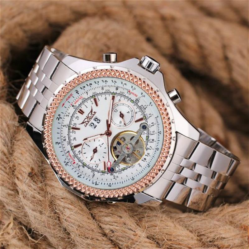 Jargar Men's Watch Fashion Autoamtic Brass Band Crystal Steampunk Classic Wristwatch Color White цена и фото