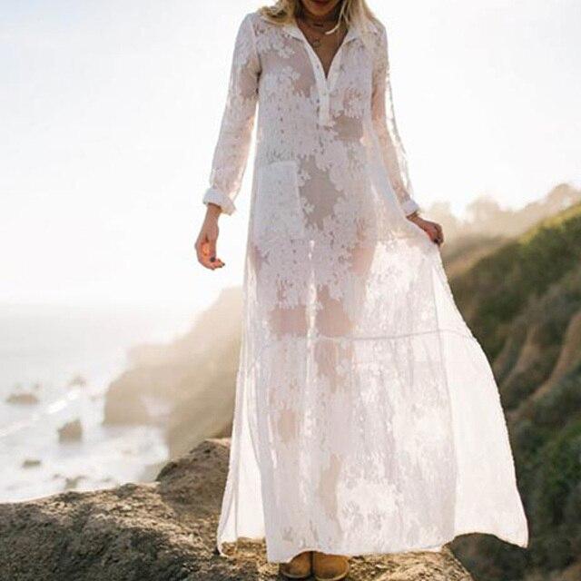 d1f16ad337 Women White Maxi Dress Summer Beach Swimsuit Cover Ups Long Sleeve Sexy  Silk See-through