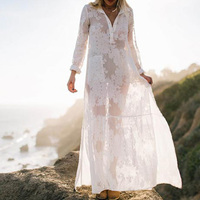 Women White Maxi Dress Summer Beach Swimsuit Cover Ups Long Sleeve Sexy Silk See through Side Slit Loose Long Dresses