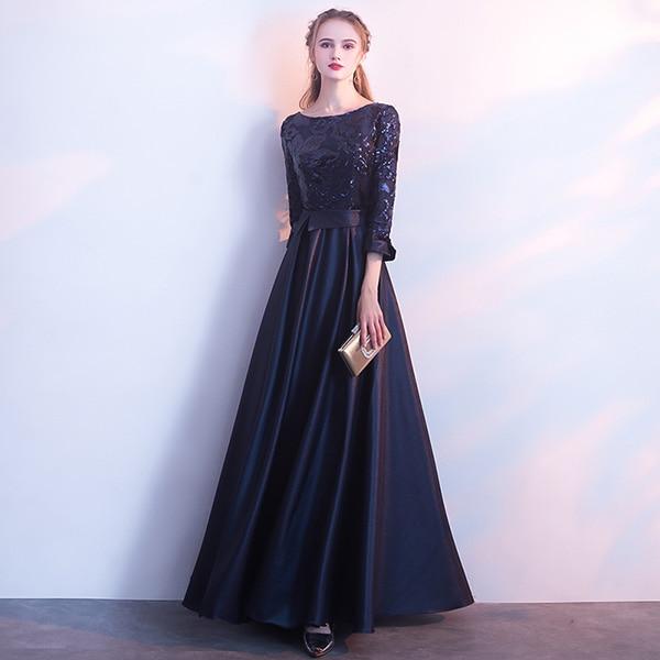 DEERVEADO ТРАПЕЦИЕВИДНОЕ Золотое вечернее платье с блестками, длинное вечернее платье для выпускного вечера, вечернее платье, вечернее платье, женское элегантное платье M254 - Цвет: Тёмно-синий