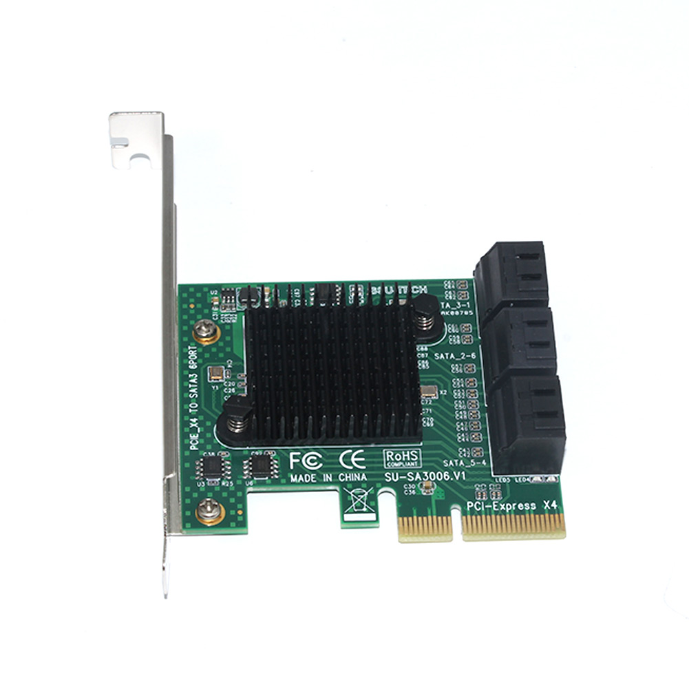 PCIE To SATA3.0 Practical Adapter 6 Ports Stable Expansion Professional Add On Card Replacement High Speed Hot Swappable Safe