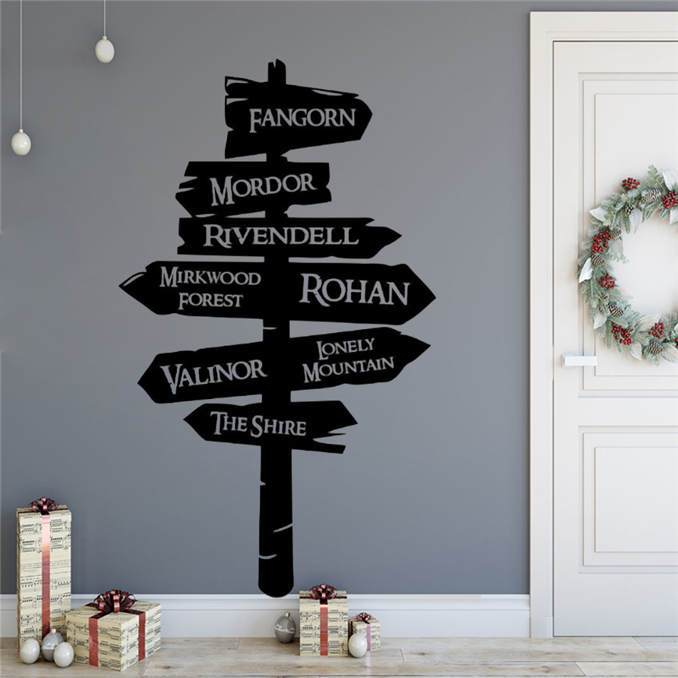 Lord Of The Rings Wall Sticker Creative Decoration Road Sign Wall Poster Removable Popular Movie Vinyl Wall Decal AZ148 in Wall Stickers from Home Garden