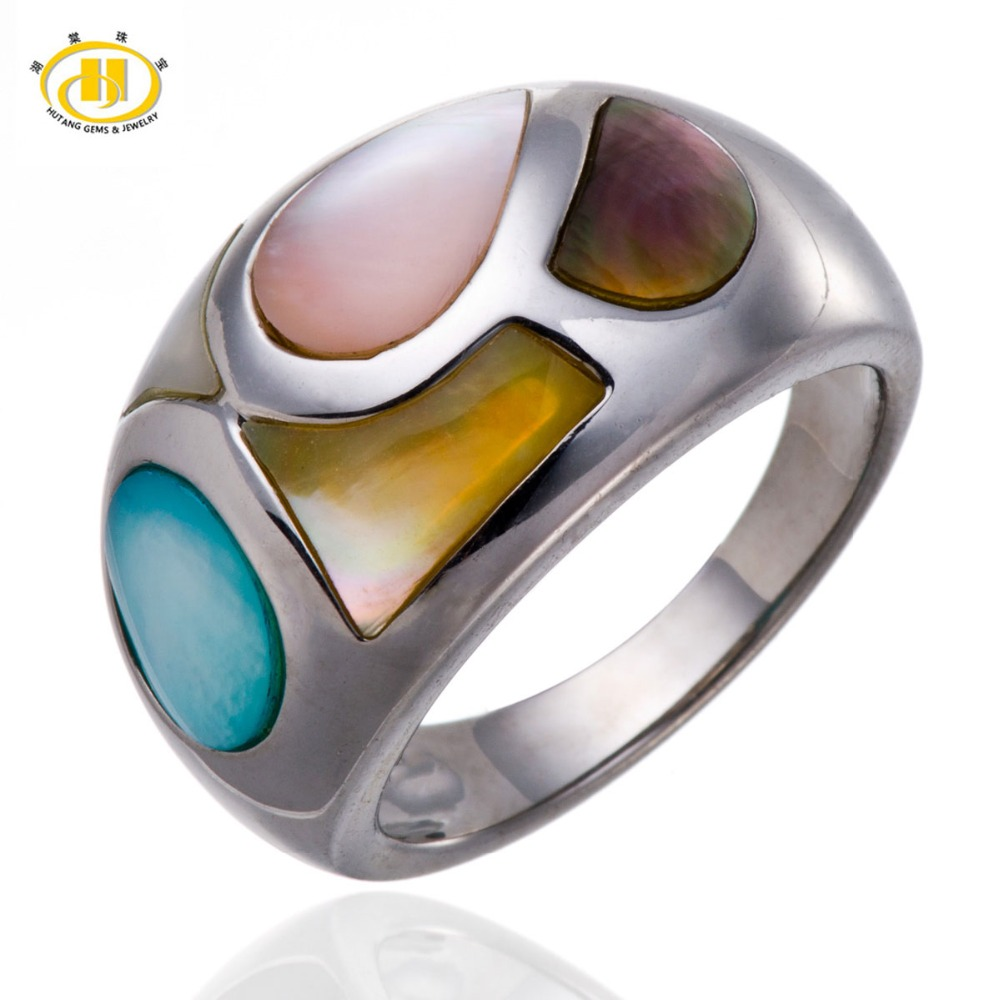 7100900b28c8dd Hutang Brand New Multi color Mother of Pearl Solid 925 Sterling Silver Ring  Unique Design Fine Jewelry-in Rings from Jewelry & Accessories on  Aliexpress.com ...