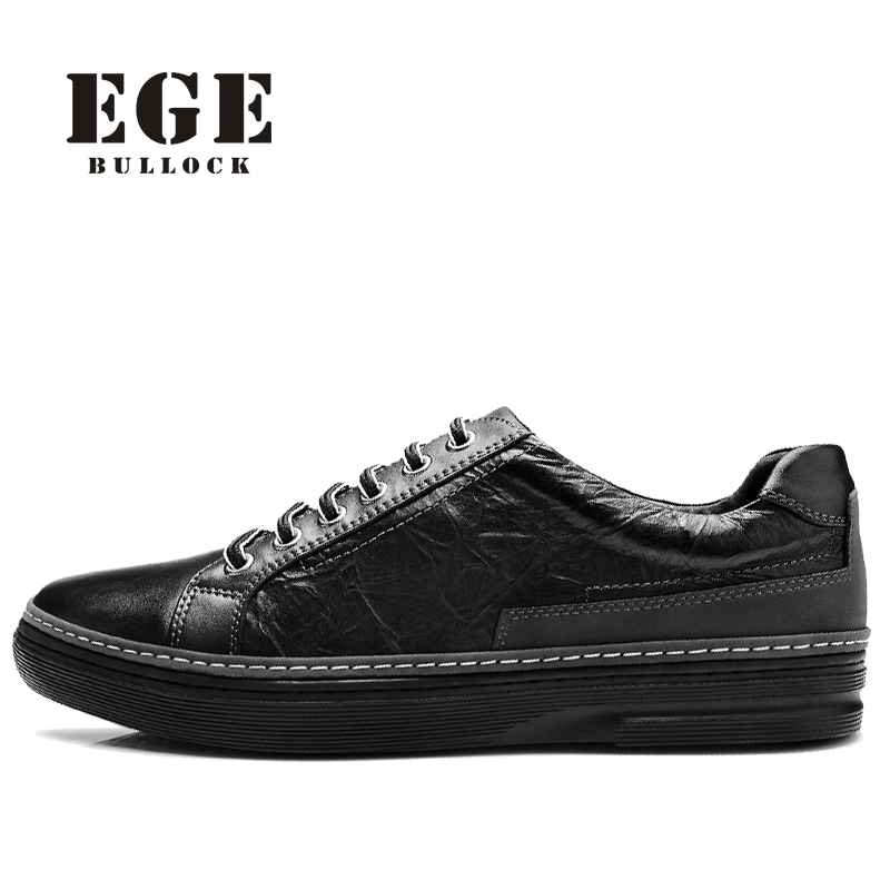 Brand New Arrival Handmade Genuine Leather Men Flats,Spring Fashion Lace-up Brand Casual Shoes,EGE Breathable Leisure Shoes Men 2017 new women shoes genuine leather casual shoes flats breathable lace up soft fashion brand shoes comfortable round toe white