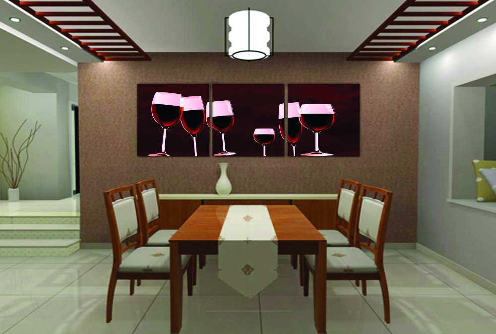 Modern Oil Painting HD Print On Canvas Dec Wall ArtFood Red Wine Glass Kitchen Decoration Gift 5050cm 3pcNo Frame Multi Panel In Calligraphy