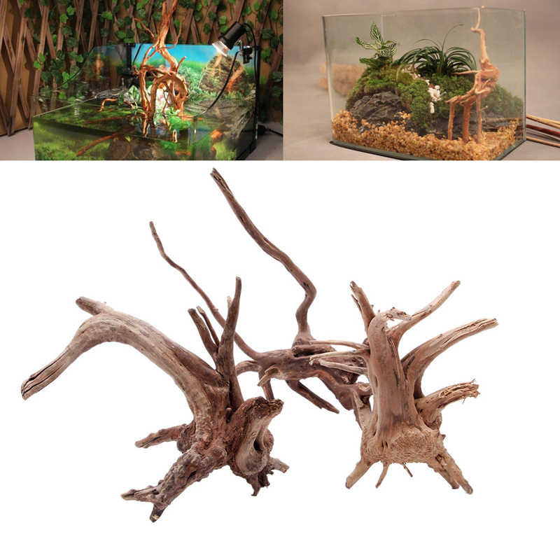 Wood Natural Tree Trunk Driftwood Aquarium Fish Tank Plant Decoration Ornament XS/S/M