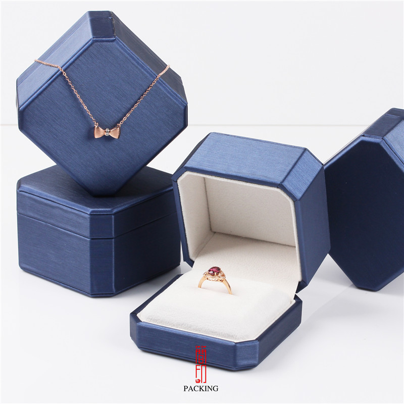 Blue And Gold Brushed Leather  Jewelry Boxes For Ring Pendant Octagonal Jewelry Case Large Quantity Large Discount