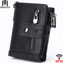MISFITS 2019 NEW Genuine Leather RFID Men Wallets Casual Zipper Pocket Coin Purse With Card Holder Brand Cowhide Wallet For Male