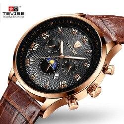 Tevise nowe męskie automatyczne mechaniczne zegarki Top marka luksusowe Sport własna Winding złoty mężczyźni Wrist Watch mężczyzna Relogio Masculino Zegarki mechaniczne    -