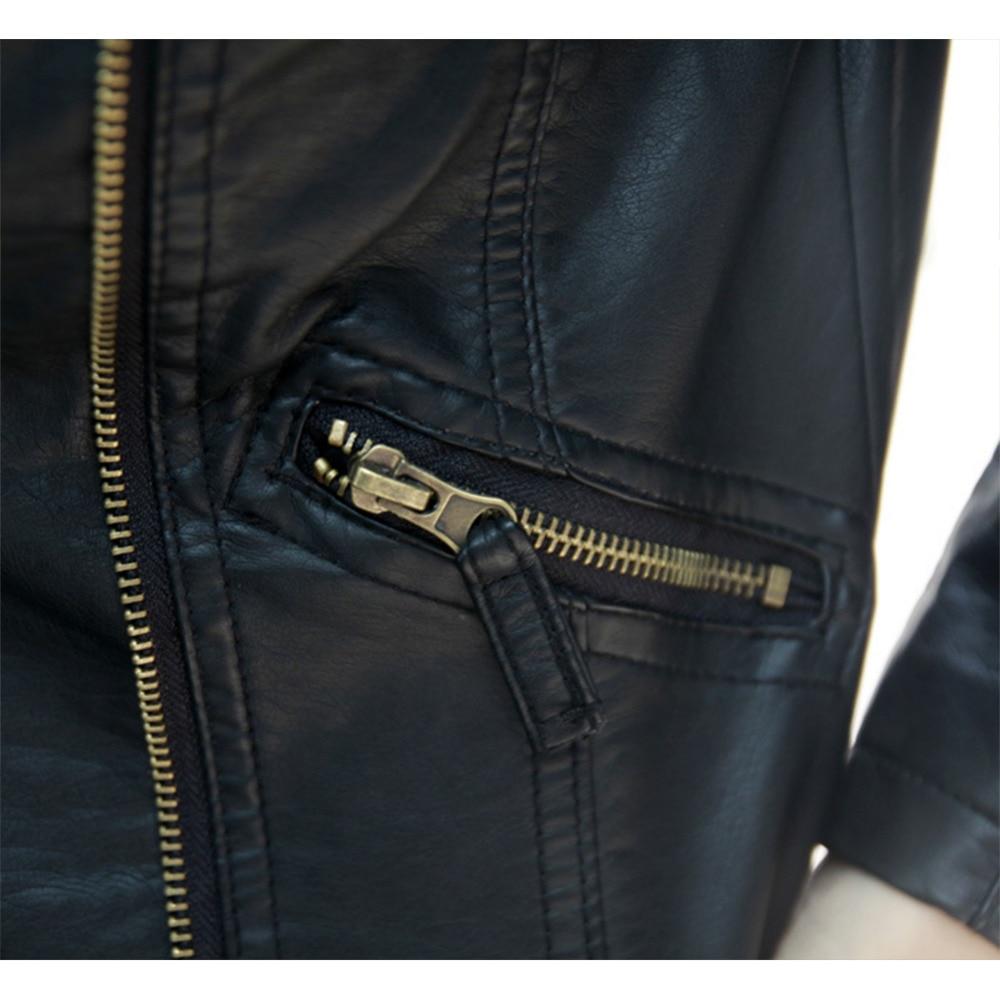 2017 jesienno-kobiet czarny szczupły koreański styl PU faux leather - Ubrania Damskie - Zdjęcie 6