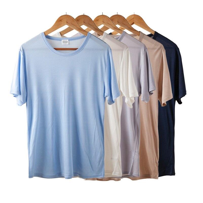 Herren basic t shirt 100% naturseide feste hemd kurzarm top Herren - Herrenbekleidung - Foto 5