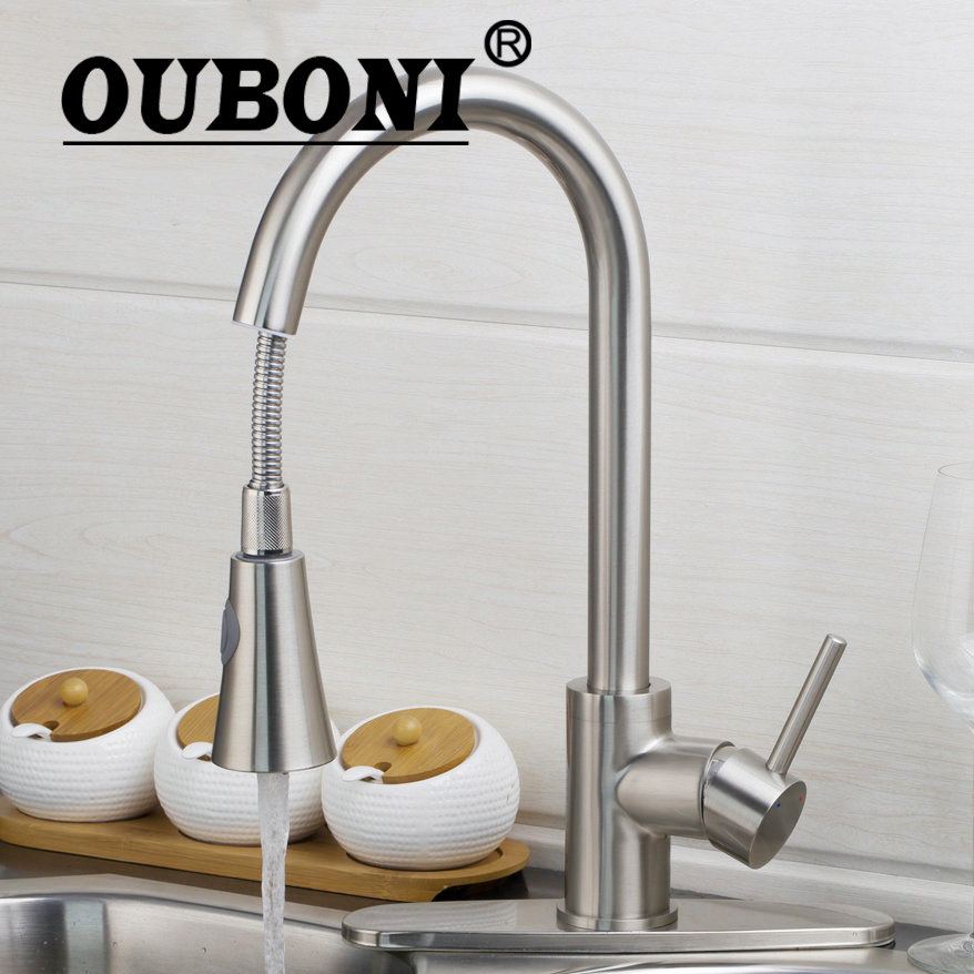 OUBONI Pull out Spray Kitchen Faucet Mixer Tap brushed nickel single hand kitchen tap mixer brass With Cover Plate цена и фото