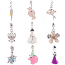Fit Pandora Bracelet DIY Jewelry New Ballet Girl Pink Candy Rainbow Umbrella Charm princess dress High heels Pendant beads(China)