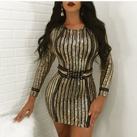 Bodycon Gold Sequined Mini Dress Sashes Bandage Party Dresses Full Sleeved Patchwork Sequins Sexy Night Club