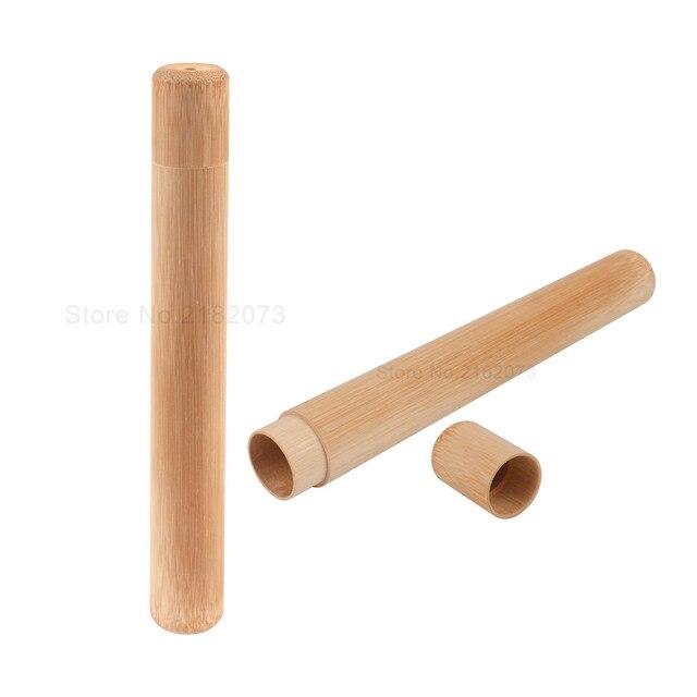Natural tubo de bambú para el cepillo de dientes de caso hecho a mano de bambú cepillo de dientes tubo de viaje portátil embalaje Dropshipping. exclusivo.