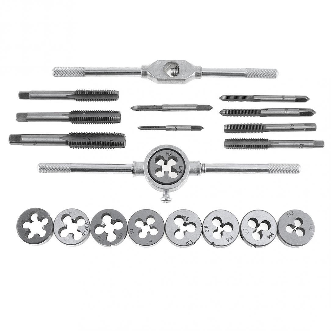 20pcs Alloy Steel Tap & Die Set With Small Tap Twisted Hand And 1/16-1/2 Inch NC Screw Thread Plugs Taps Hand Screw Taps