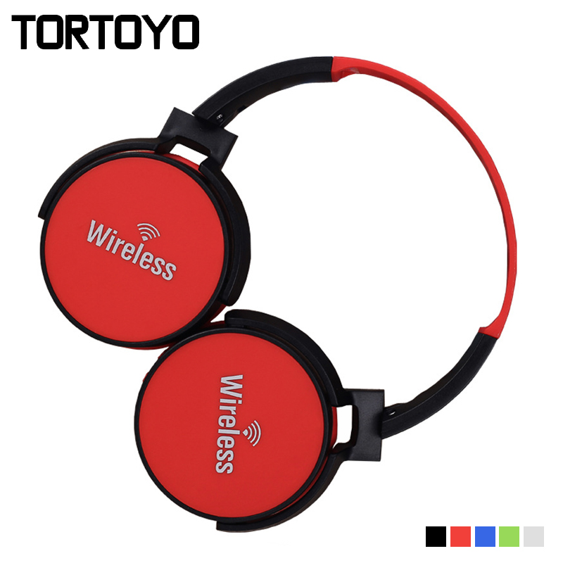TORTOYO Colorful Portable Foldable Bluetooth Headphone Wireless Heavy Stereo Bass Headset with Mic TF Card FM Radio 3.5mm Aux bluetooth wireless stereo headset audio connection card player fm radio headphone earphone with mic tf card mp3 supported