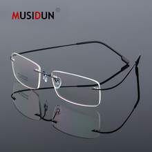 цена на Optical Glasses Frame Man woman Titanium Alloy Rimless Eyeglasses Frame Myopia Prescription Spectacle Frameless Q867
