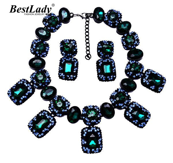 Best lady New Arrival za Fashion Statement Luxury Crystal Gem Vintage Luxury Necklace pendants Collar Choker