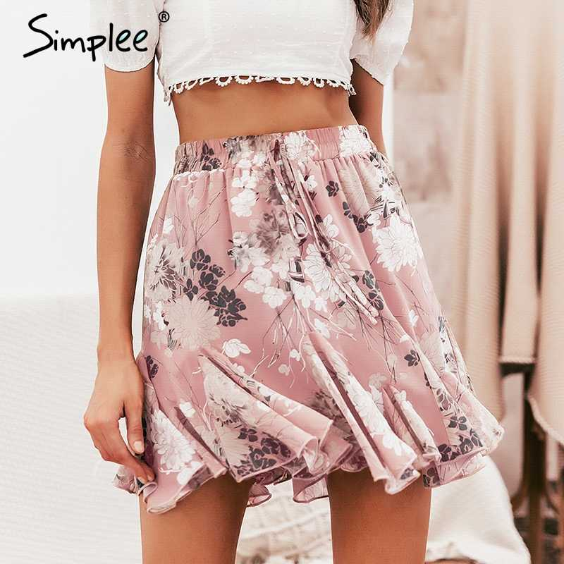 5912364199 Detail Feedback Questions about Simplee Bohemian floral print women skirt  Elastic high waist ruffled mini skirt female Casual summer beach short  skirts 2019 ...