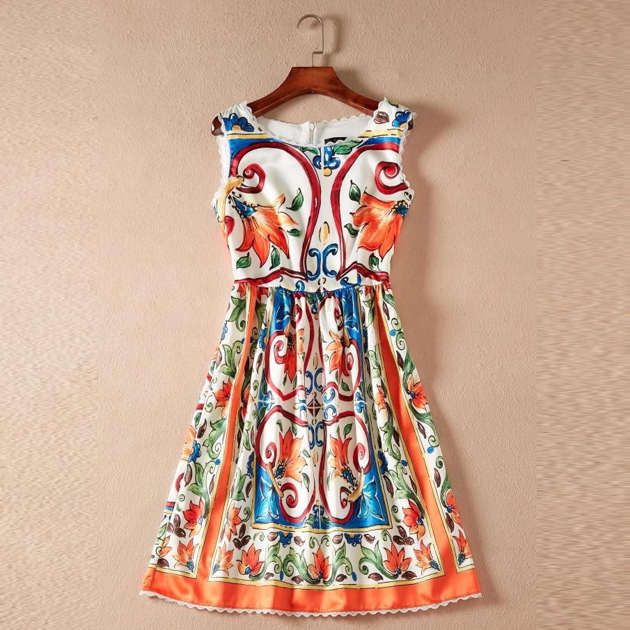 2018 Autumn Sleeveless Print Dress Women High Quality Fashion O neck Above Knee Mini Female Sweet