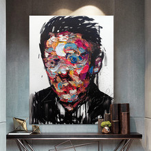 Hand painted Francoise Nielly Palette knife man portrait Face Oil painting Character figure canva wall Art picture