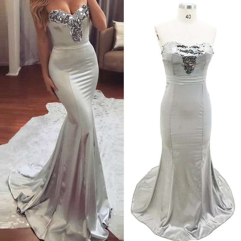 37b2a35ded201 US $13.48 15% OFF|Sexy Summer Dress V Neck Strapless Sequin Bandage Maxi  Dress Silver Shinny Patchwork Backless Bodycon Long Party Dress Vestidos-in  ...