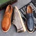 2016 Nuevo Otoño Retro Británico de Cuero Shose de Los Hombres Planos de La Manera Calzados Informales bajos Zapatos de Los Hombres de Los Holgazanes Zapatos Oxford Para Los Hombres Del Envío gratis
