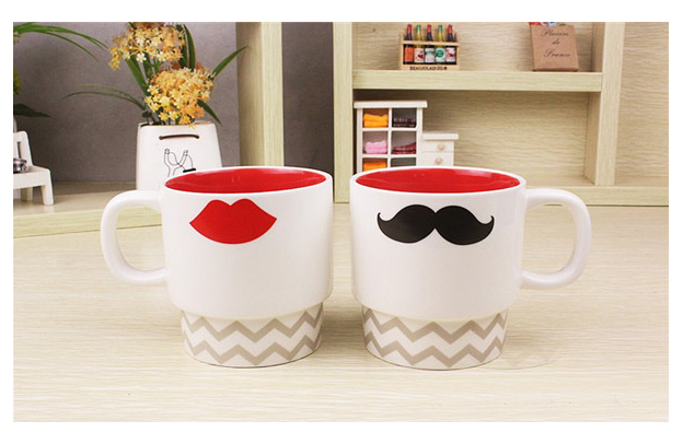 ZAKKA Creative Ceramic Mugs Lover couples drink cups Mr Right Beard Cup and Mrs Left Lip
