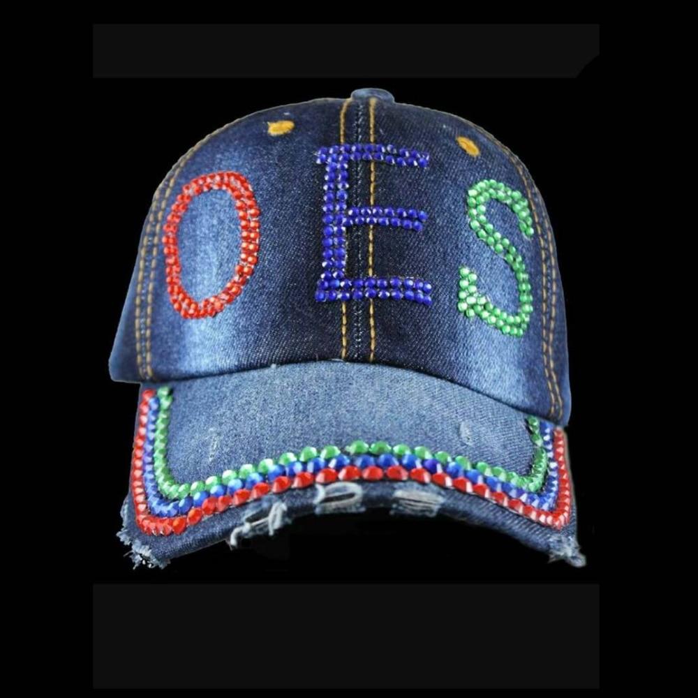 Order of Eastern Star baseball Cap  OES denim cap  Hat Order of Eastern Star baseball Cap  OES denim cap  Hat