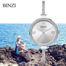 BINZI Luxury Brand Women Dress Watches Rose Gold Ladies Watch Stainless Steel Female Rhinestone Girls Gift Clock Xfcs 2018