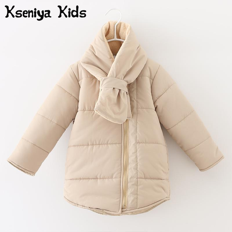 Kseniya Kids Big Little Girls Winter Jacket Coat Scarf  Children Outerwear Winter Jackets Coats Casaco Inverno Infantil Menina