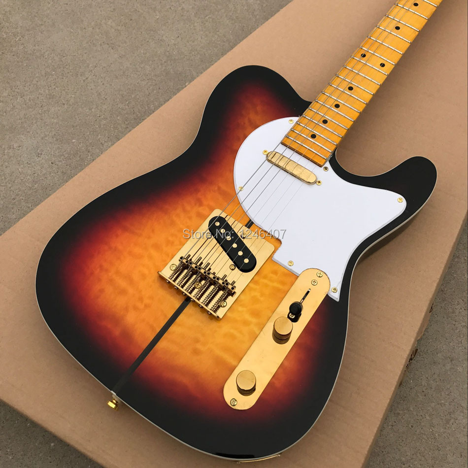 Free shipping electric guitar TL the dog and the golden yellow guitar at the outbreak of China hardware color free shipping top quality lower price the left hand tl natural yellow color guitars tl electric guitar