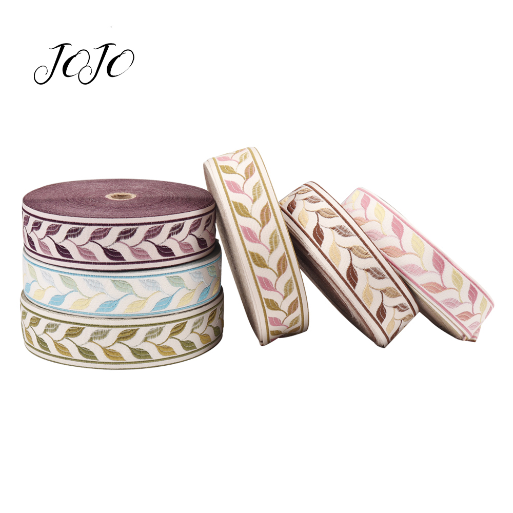 JOJO BOWS 35mm Grosgrain Ribbon Leaf Embroidery For Needlework DIY Hairbow Party Decoration Gift Wrapping Apparel Material