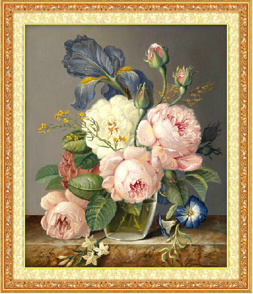 Needlework, DIY DMC Cross Stitch, sett for broderi sett, Peony Flower Patterns Oljemaleri Cross-Stitching, Wall Home Decro