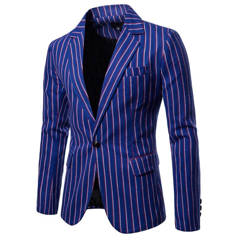 купить!  Пиджак европейский код осень новый мужской полосатый случайный костюм мужской с одной пряжкой хлопо