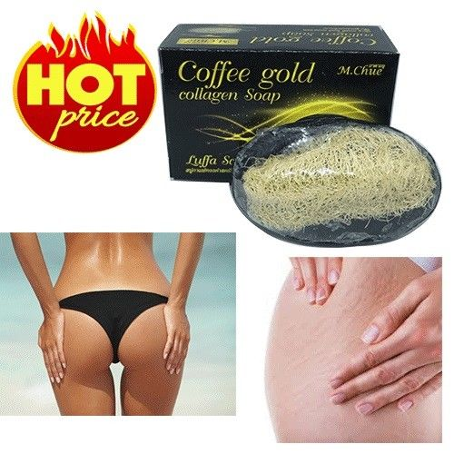 2 PIECES COFFEE GOLD COLLAGEN SOAP LUFFA LOOFAH SCRUB CELLULITE WHITENING ANTI AGING 60g