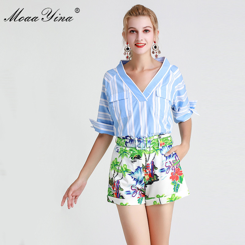 MoaaYina Fashion Designer Set Spring Summer Women V-neck Stripe Tops+Belt Print Short Skirt Two-piece Suit