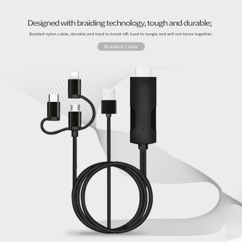 3-in-1 LD15-3D USB to HDMI Mirroring Multiple Device 4K Super Definition Supports for Type-C Micro USB Lightning for Android iOS