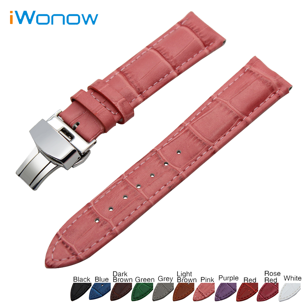 Galleria fotografica Genuine Leather Watch Band 22mm for Samsung Gear S3 Classic / Frontier Stainless Butterfly Buckle Strap Wrist Belt Bracelet