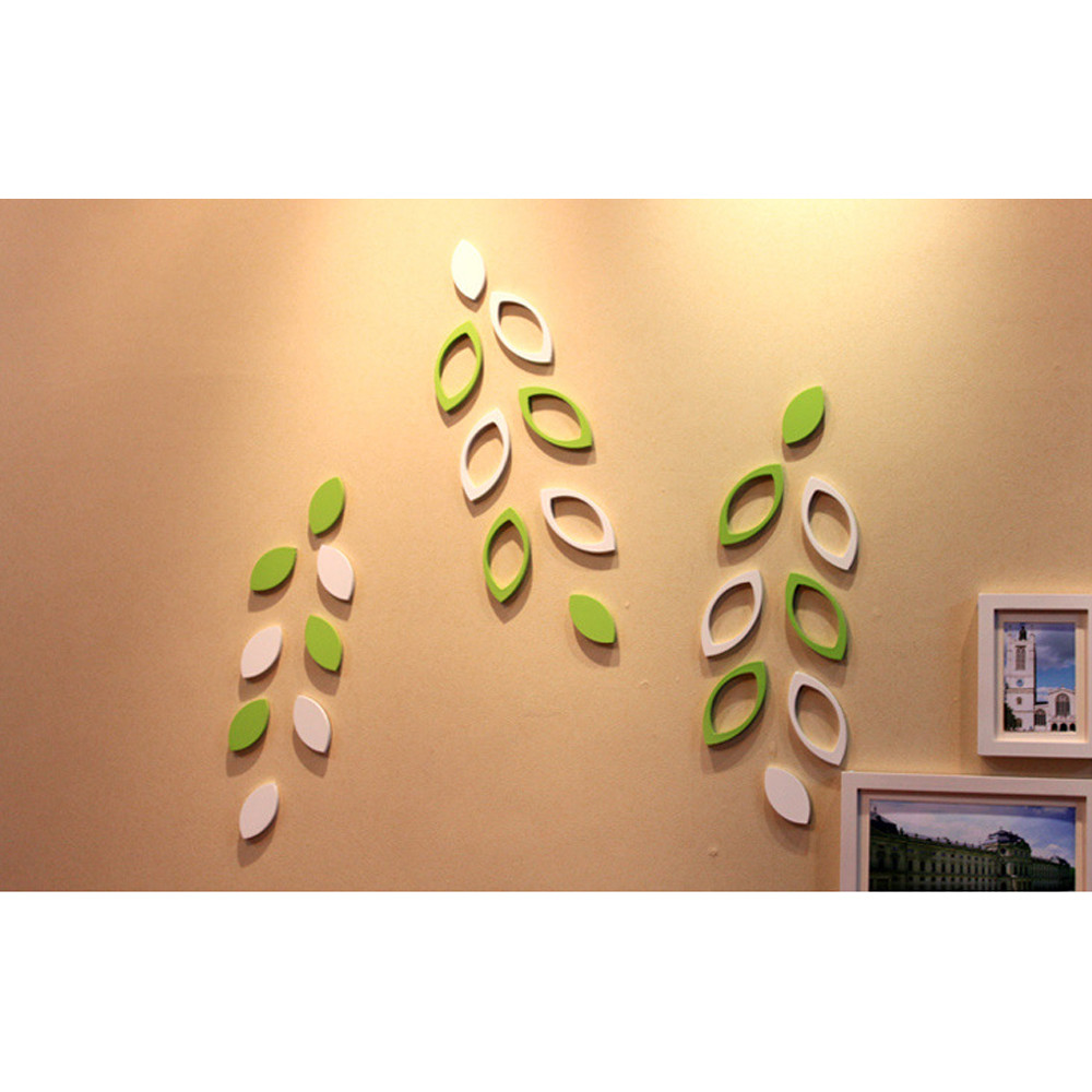 3D Wooden Wall Stickers Green White Tree Leaves Shape DIY Decoration ...