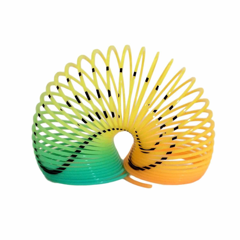 Color Random Smile Face Classic Protean Rainbow Circle Folding Plastic Spring Coil Children's Creative Magical Toys