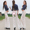 New Sexy Women See Through Lace Flare Pants Package Hip Leg Transparent Pants Elastic Hollow Erotic Lingerie Club Wear FX1039